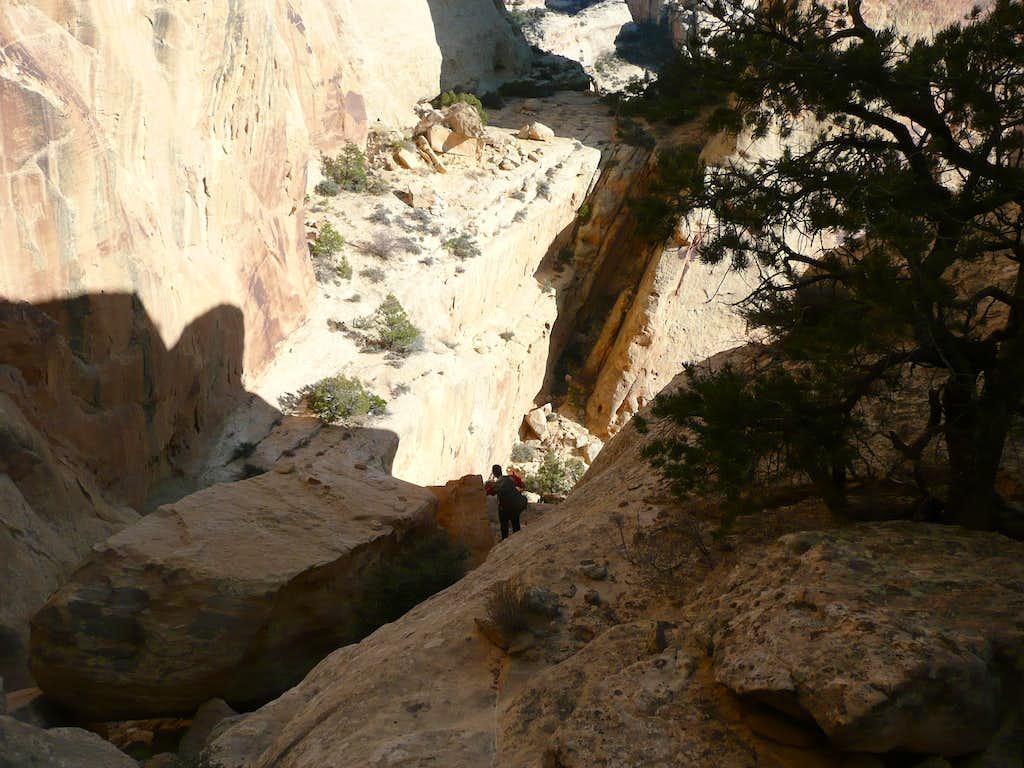 Desceding to the final ledge