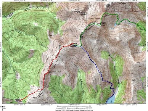 A Topo! map of three Routes...
