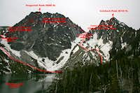 Colchuck and Dragontail (via Colchuck Glacier) and Colchuck Balanced Rock (NW Ridge), early summer climbing