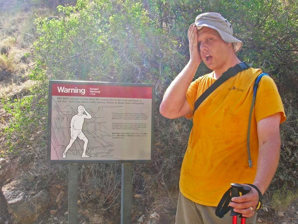 Canyon Warning Sign