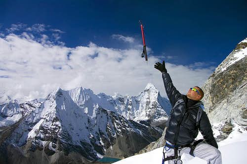 Ice-axe over Ama Dablam