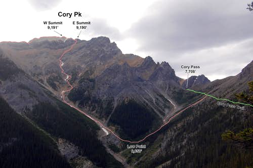 The descent from Cory Peak to Cory Pass