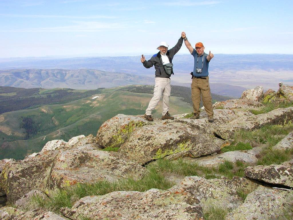 Yours truly and Dean on the summit of Cache Peak