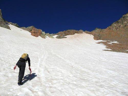 Erika ascending the snowfield