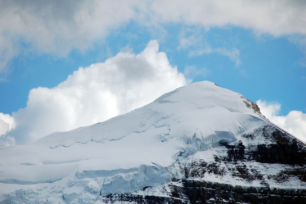 Climbers finishing the east ridge on Mt Temple