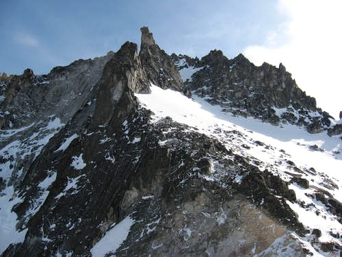 Looking up at Dragontail from Colchuck Col