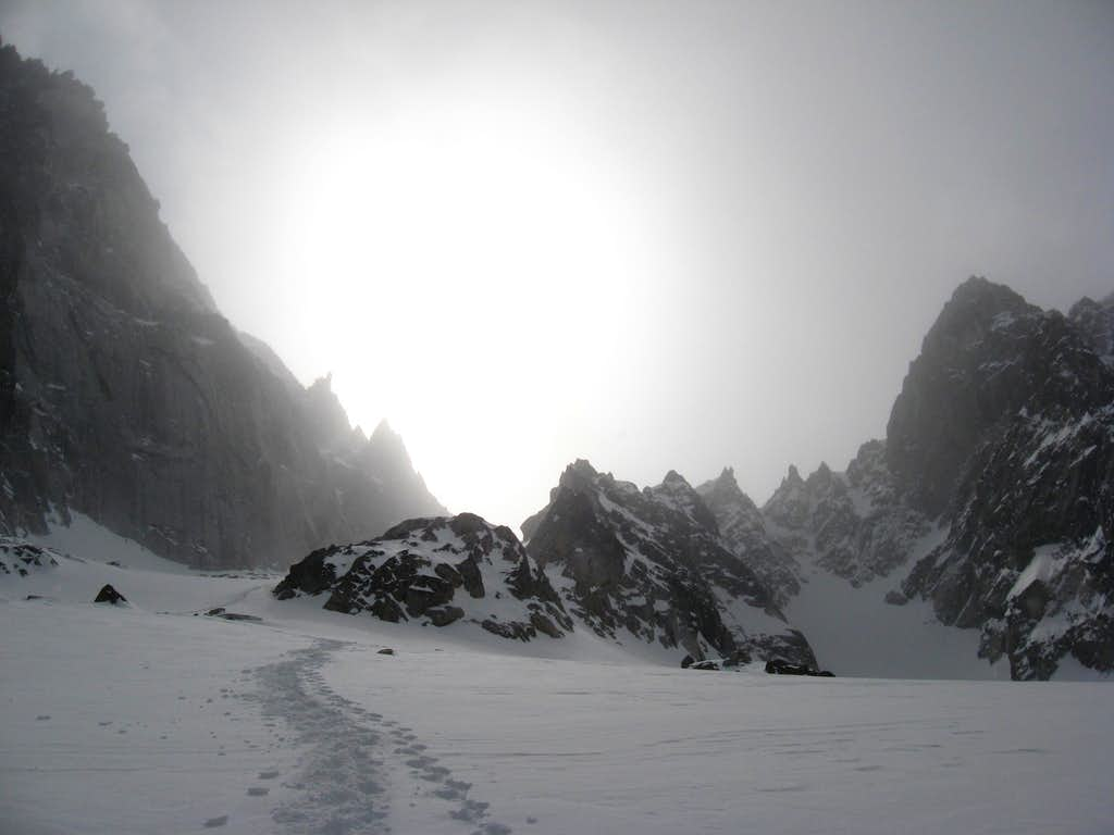 Looking up the Colchuck Glacier