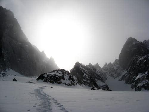 Looking up the Colchuck Glacier