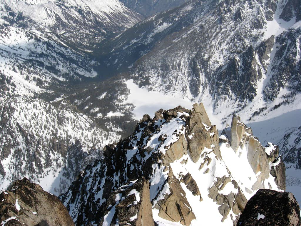 The view down on Colchuck Lake from the summit