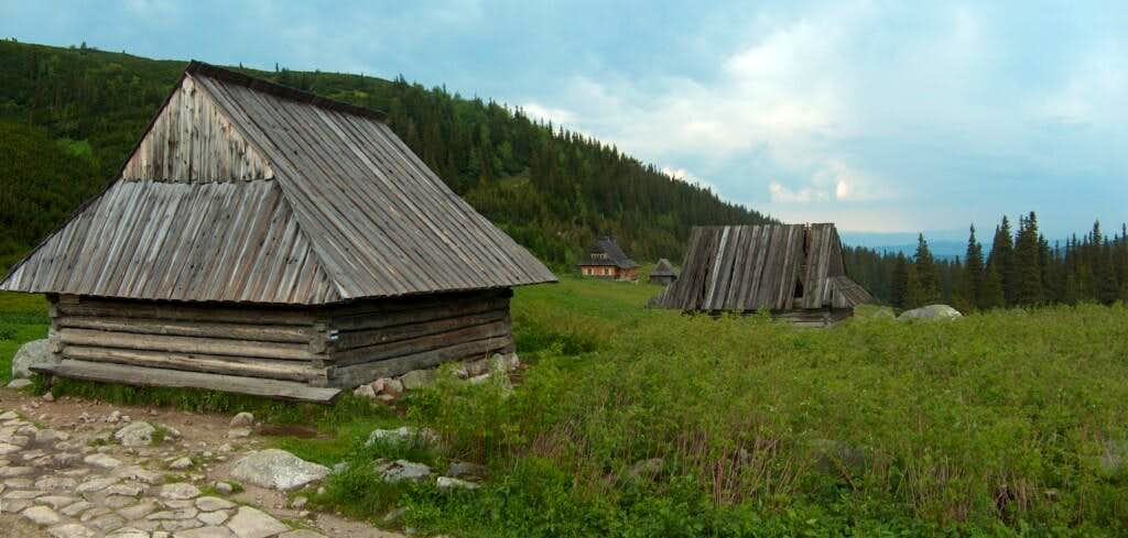 Traditional sherperds huts in Polish Tatra's Dolina Gąsienicowa