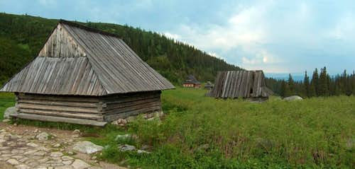 Traditional sherperds huts in Polish Tatra s Dolina Gąsienicowa