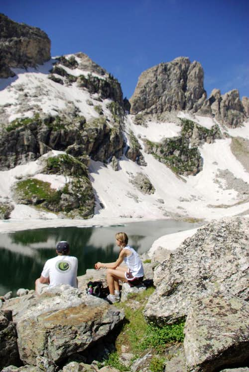Lunch break at Lake of the Crags