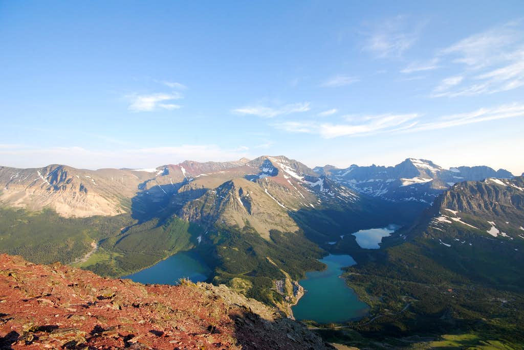 looking south over the Many Glacier Valley from Altyn Peak