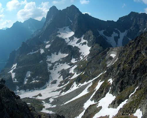 From Szpiglasowy Wierch, looking east to the Mięgusze peaks