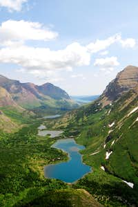 from the switchbacks on Swiftcurrent Pass Trail
