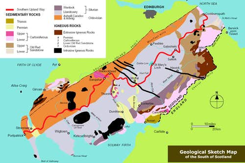 Geological map of South Scotland