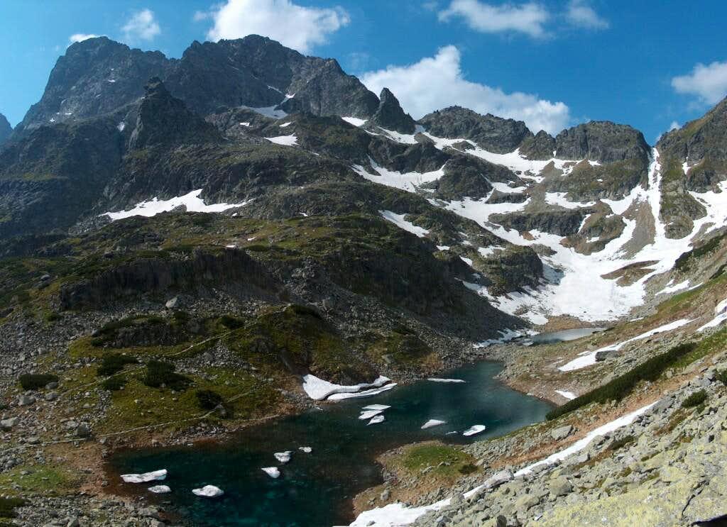 Going down from Szpiglasowy Wierch, looking east to Dolina Mnicha, lake Staw Staszica, and Rysy