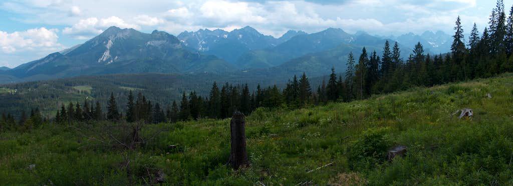 The Polish High Tatras seen from the surroundings of Bukowina Tatrzanska