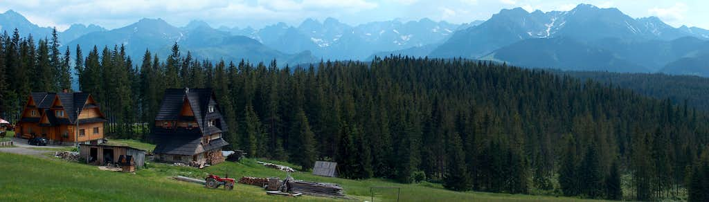 The Polish High Tatras seen from the heights somewhere on the north west of Zakopane