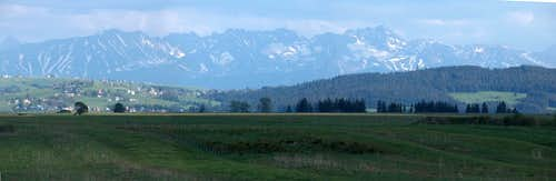 The Polish High Tatras seen from Czarny Dunajec