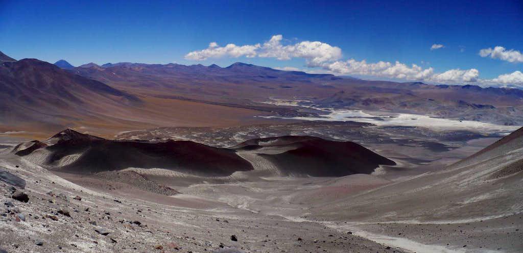 Incahuasi volcancitos from pass w/ Inca Chico