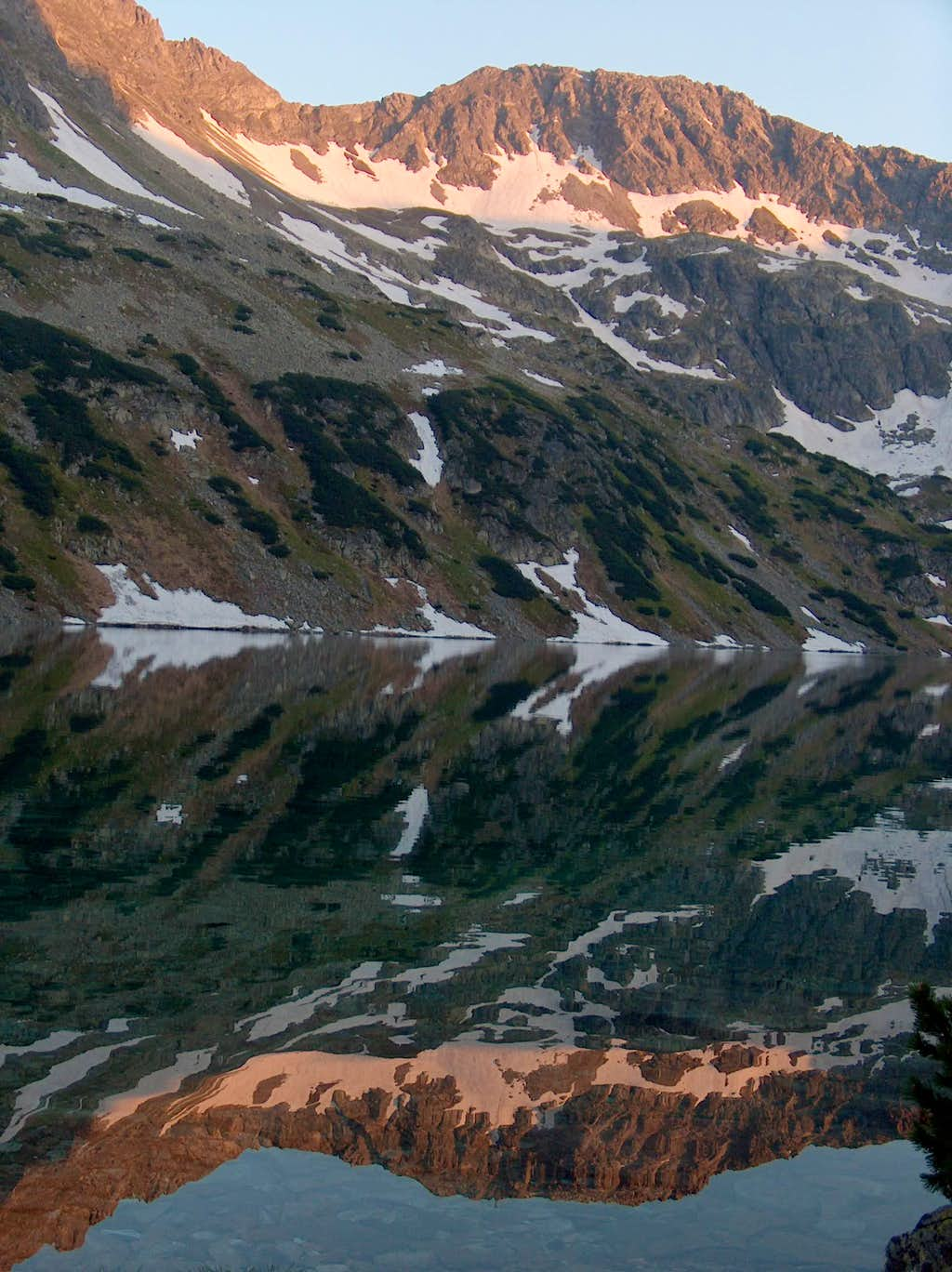 Evening reflections in Wielki Staw in the valley of the Five Lakes