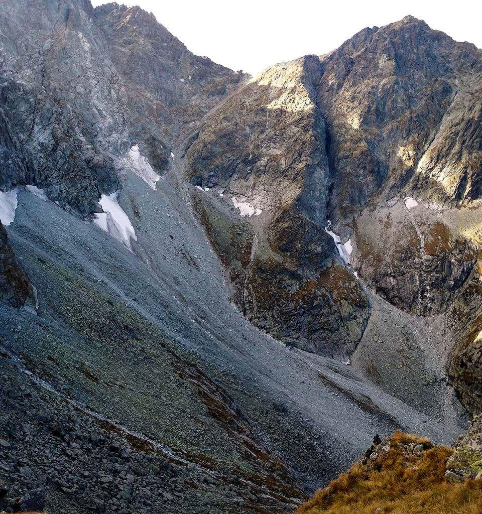 Sedlo Vaha, as seen from Bielovodska Dolina. The unnoficial route to Mt Rysy...