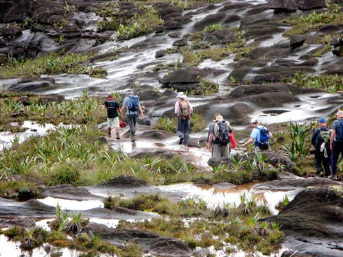 Hiking on the surface of Roraima