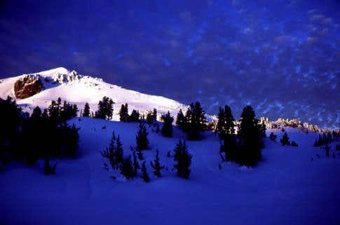 Sunset on Lassen Peak, winter...