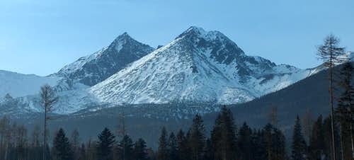 Winter panorama to the High Tatras from the car park of Biela Voda