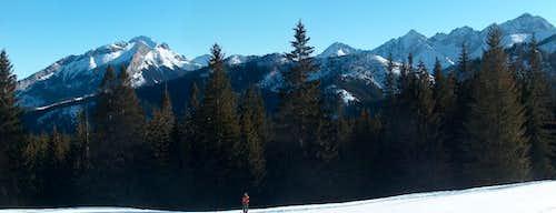 On the way to Rusinowa Polana, superb view to the White Tatras behind