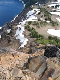 MAZAMA: looking east down crater from summit