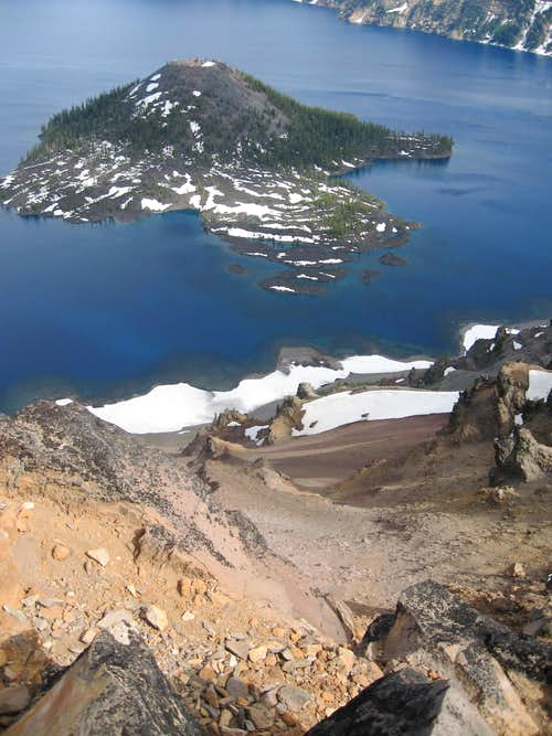 MAZAMA: looking straight down from summit