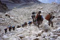 The 19 porters close to Babu Base Camp