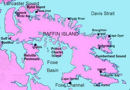 Map of Baffin Island....