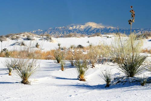 Snow-Covered Dunes and Sierra Blanca