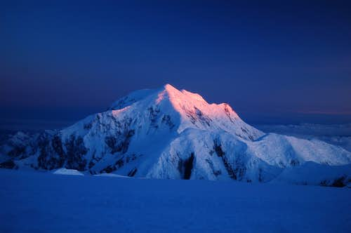 Alpenglow on Mt Foraker from 14k