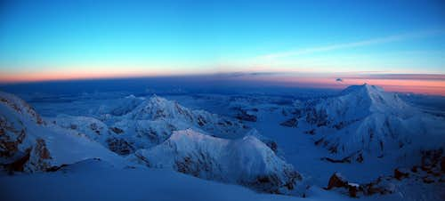 Hunter & Foraker Alpenglow Panorama