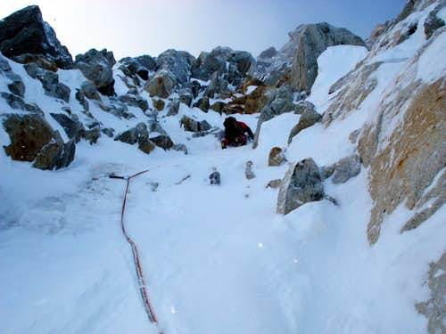 Leading on the Aiguille Carrée