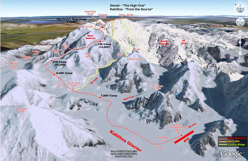 3D Route Diagrams of Denali