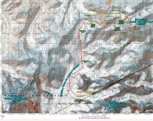 Denali\'s West Buttress - Annotated Topo Map