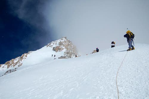 Ascending the ridge of the West Buttress