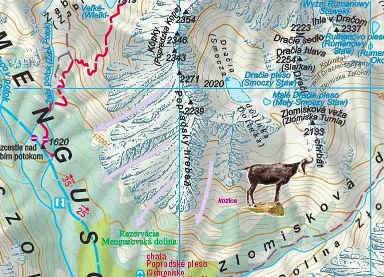 The Popradske Pleso region map
