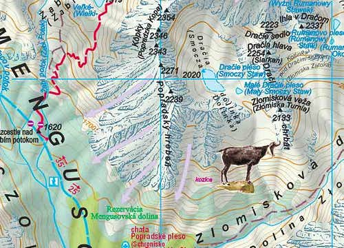 The Popradske Pleso region map