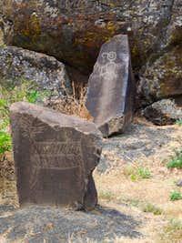 native petroglyphs at Horsethief Lake SP