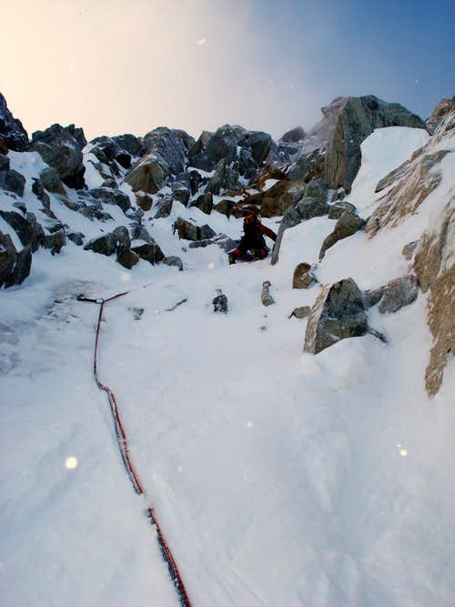 Climbing on Aiguille Carrée