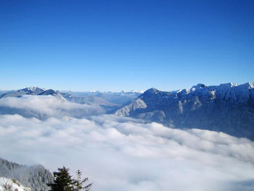 View to Wetterstein and Ammergauer Alps