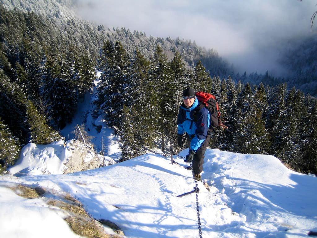 Descend of winter climb of Ettaler Manndl