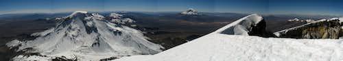 Panoramatic view of Pomerape from Parinacota crater rim