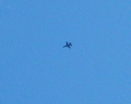 fighter jet over Cannon Mountain